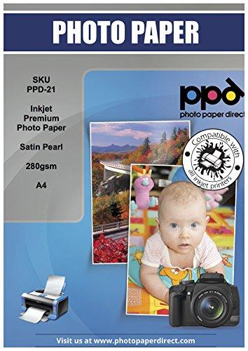 PPD DIN A4 280 g/m² Inkjet Fotopapier für Tintenstrahldrucker seidenglänzend satin seidenmatt pearl mikroporös schnelltrocknend SUPER PREMIUM 280g DIN A4 x 100 Blatt SMP28A4-100