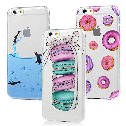 3x Cover iPhone 6s, iPhone 6 Custodia Silicone Morbido Trasparente TPU Flessibile Gomma design IMD - MAXFE.CO Case Ultra Sottile Cassa Protettiva per iPhone 6/6S - Penguin, macarons, cerchi colorati