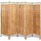 Vislone Plegable Biombos Diseño 5-Panel Biombo de Bambú Biombo Divisor Separador de Habitaciones Espacios Divisoria 200x160cm