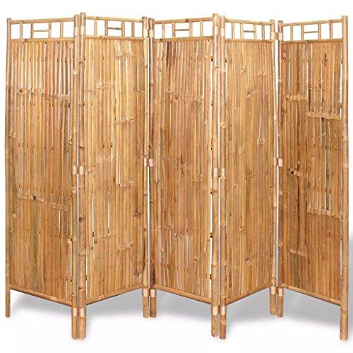 Vislone Plegable Biombos Diseño 5-Panel Biombo de Bambú Biombo Divis