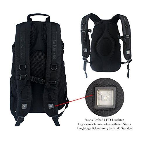 Outdoor Rucksack LED-Beleuchtung Rucksack Backpack Wasserdicht Trekkingrucksäcke Reiserucksack Wanderrucksack 36+L für Reisen Wandern Camping Bergsteigen Unisex Schwarz
