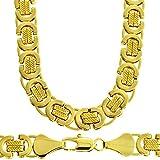 9a4524cb7c472 Collier homme - plaqué or 24 carats - Chaîne byzantine, pur Hip Hop Bling,