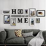 HJKY Fotorahmen Wandbilder Set großer Mauerrahmen Deko Foto Wand mit schlichtem und modernem kreativen Wohnzimmer Kombination zum Aufhängen an der Wand des Rahmens Grau und Schwarz