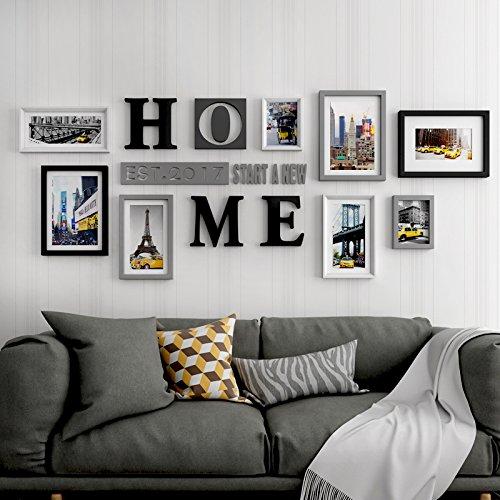 Preisvergleich Produktbild Bilderrahmen von hjky Wand Dekorative Reihe Bilderrahmen, große Mauer Foto Wand mit einfachen und modernen Wohnzimmer kreative Kombination zum Aufhängen an der Wand des Rack Grau und Schwarz
