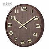 Pengei Wanduhr Wandaufkleber Uhren Küchenwanduhr Massivholz Silent Spiegellose 10 Zoll Dicke 5 cm