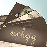 Geburtstagseinladungen zum 60, Goldener Tag 60 200 Karten, Kartenfächer 210x80 inkl. weiße Umschläge, Braun