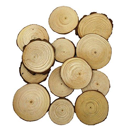perfk 20/50 Stück Holz-Scheiben Scheiben runde Naturholzscheiben DIY Deko-Holz für DIY Handwerk Hochzeit Weihnachten - Farbe 2, 20pcs 5-7cm