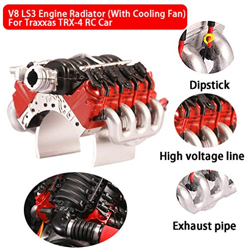 Sixcup TRAXXAS V8 Universal Motorhaube Kühlerlüfter für TRX-4 RC Auto Simulationsmotor Corvette LS3 (Rot) (Rc-autos Von Mitsubishi)