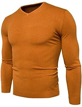 Maglione uomini casuale maglione coreano copertura collo v Slim, giallo XL