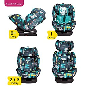 Cosatto All-in-All Group 0+123 Car Seat, Dragon Kingdom, 0-36 kg Maxi-Cosi Group 0+ in combination with maxi-cosi cabriofix infant car seat Suitable for children from birth to 13kg (from birth to around 12 months) Simple ISOFIX or belt installation - click and go. Adjustable support leg automatically snaps into correct vertical position 7