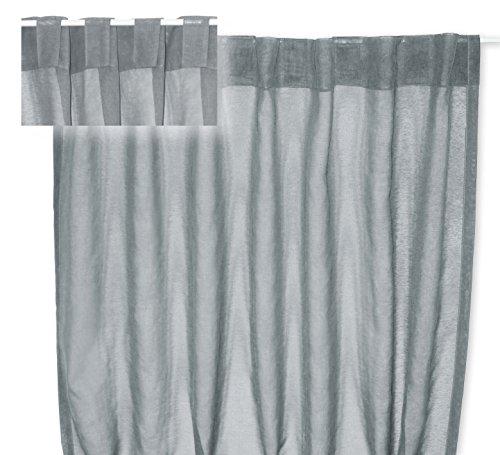 Voile Dekoschal Organza Gardine verdeckte Schlaufen Vorhang transparent Struktur ca. 140x245 cm #1220 (Grau)