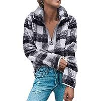 Hanomes Damen pullover, 2018 Frauen Mantel Gitter Winter warme Wolle Reißverschluss Herbst Baumwolle Mantel Bluse preisvergleich bei billige-tabletten.eu