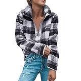 MOIKA Damen Sweatshirt, 2018 Frauen Mantel Gitter Winter warme Wolle Reißverschluss Herbst Baumwolle Mantel Bluse