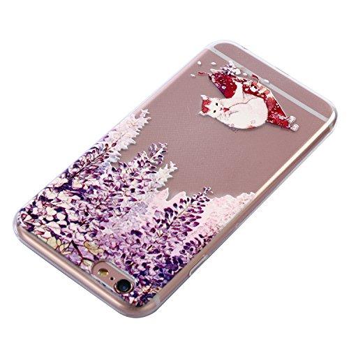 iPhone 6 Plus Hülle, Voguecase Silikon Schutzhülle / Case / Cover / Hülle / TPU Gel Skin für Apple iPhone 6 Plus/6S Plus 5.5(Lace Blume 09/Sahwarz) + Gratis Universal Eingabestift Weiß Katze 09