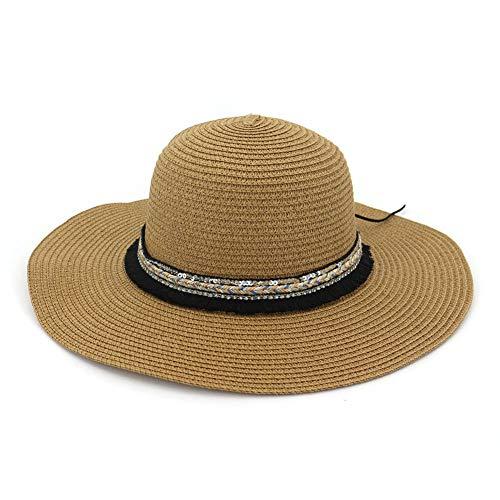 HGYIO Wilder Strohhut der Mädchen, Sommerküsten-Strandhut, beige Sonnenhut,Khaki