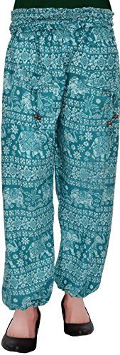 Harem Fashionable Stylish comfortable Regular Fit Printed Indo Western Bottom Wear Elastic Closure Ankle Length green pyjama for women's / girls/ ladies by Shop frenzy