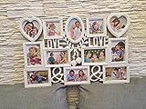 Fotorahmen Collage 12 Fotos, XXL 72x48 cm, das perfekte Geschenk für den Liebsten/die Liebste, zur Hochzeit, zum Geburtstag, weiß, Kunststoff, romantisch 12 Fotos zu je 10x15cm