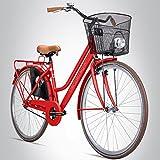 """Bergsteiger, bici da donna modello """"Amsterdam"""" di 28 pollici, altezza minima ciclista 150cm, cestino, fanale, city-bike da donna con freno a contropedale, bicicletta olandese in design retro, cherry"""
