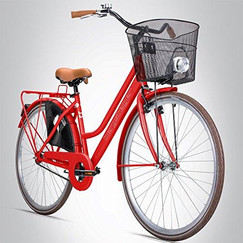 Bergsteiger Amsterdam 26 Zoll Damenfahrrad, ab 140 cm, Korb, Fahrrad-Licht, Mädchen-Fahrrad mit Rücktrittbremse, Hollandrad im Retro-Design -