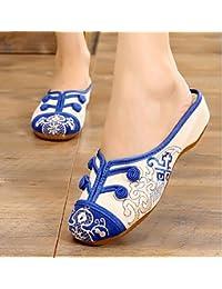 GHKLGY Bestickte Schuhe, Sehnensohle, ethnischer Stil, Femaleshoes, Mode, bequem , blue , 38