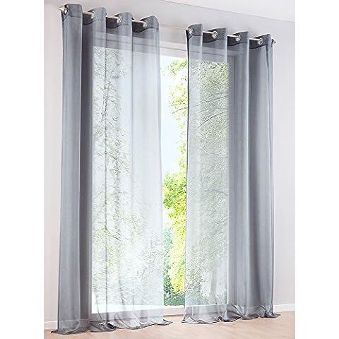 Rideau Voilage Couleur Uni Rideaux à Œillets Décoration de Fenêtre Chambre / Salle de Bain / Balcon - 1Pc (140x145cm, gris)