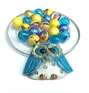 Sac HIBOU porte-bonheur Bleu : 1 magnet et ses 20 Billes en verre