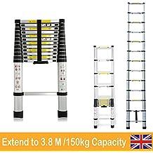 Multifunción escalera telescópica de aluminio extensible para interior exterior bricolaje Builder Loft, almacén, oficina en casa–12,5ft kg capacidad
