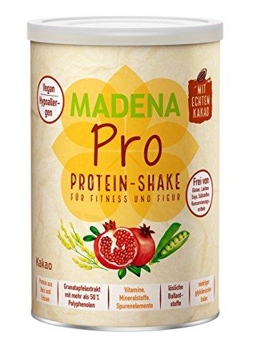 MADENA PRO Kakao - naturbelassener, veganer Protein Shake | über 20% BCAA | Diät-Shake | lactosefrei und glutenfrei | Reisprotein + Erbsenprotein + Granatapfelextrakt mit mehr als 50% Polyphenolen