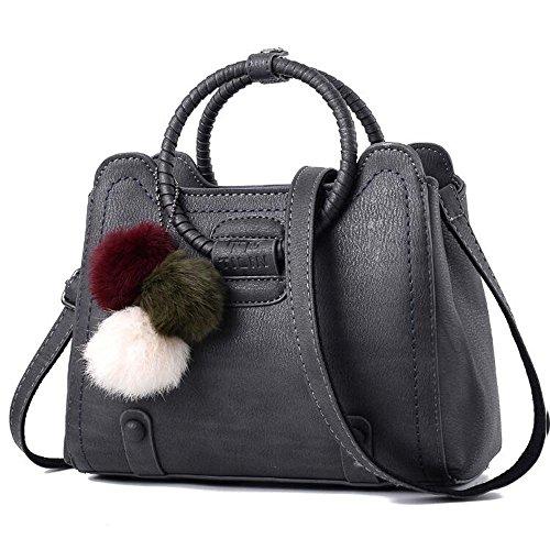 Toopot Sacchetto di spalla di cuoio della borsa di cuoio di Pu Può semplice semplice delle donne Grigio