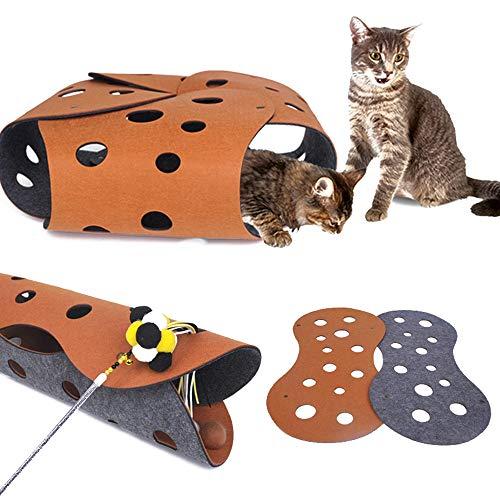 Junlian Funny Cat Tunnel Toys Tubo univoco Cat Toy Felt Play House Giocattolo per Animali Canale con Fori