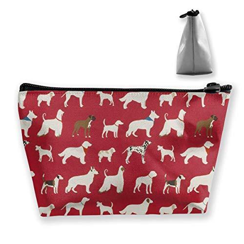 Rot, Weiß und Schwarz Baumwolle Hund Design Reise Make-Up Tasche Kosmetiktasche Organizer Aufbewahrungstasche Für Frauen Schönheit