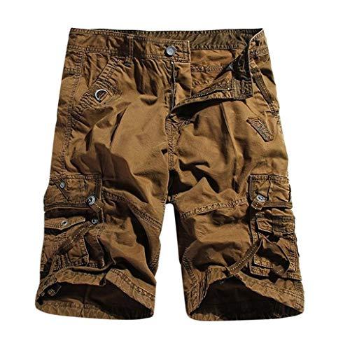 KIMODO Herren Reißverschluss einfarbig Freien Chino Hose Männer Strand Arbeitshosen Ladung Kurzschluss Freizeit Shorts mit Taschen Tropical Crop Hose