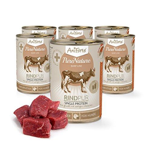 Comida Húmeda para Perros Sin Cereales | 85,2% Carne de Ternera Country Beef (6 x 400g) | Sin Granos Ni Conservantes | Dieta Barf | AniForte