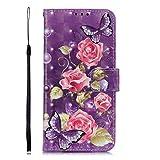 Pheant Handyhülle für Samsung Galaxy J6+ 2018 (J6 Plus 2018) Hülle Klapphülle mit Standfunktion Kartenfach und Magnetverschluss 3D Effekt Design Rose Mustter Brieftasche PU Leder Tasche Schutzhülle