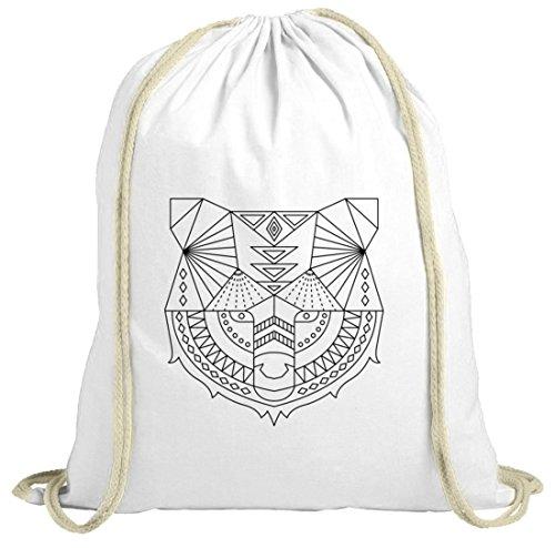 Tier natur Turnbeutel mit Polygon Bär Motiv von ShirtStreet weiß natur