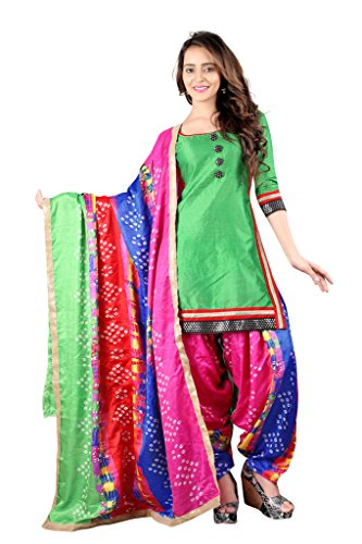 BanoRani Women's Silk Dress Material (BR-2062_Free Size_Green :: MultiColor)