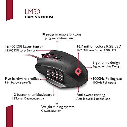 Lioncast LM30 Gaming Maus (19 Tasten, 16.400 dpi, MMO Laser Mouse) schwarz - 6