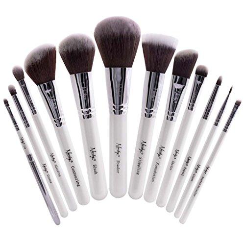 Beauty Collection Make-up-set (Nanshy Meisterhaftes Collection Make-up-Pinsel-Set-Onyx Schwarz oder Perlglanz Weiß (Perlglanz Weiß))