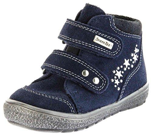 Richter Kinder Lauflerner-Halbschuhe blau Velourleder Sympatex Klett Mädchen-Schuhe 1533-831-7201 Atlantic Star, Farbe:blau, Größe:24