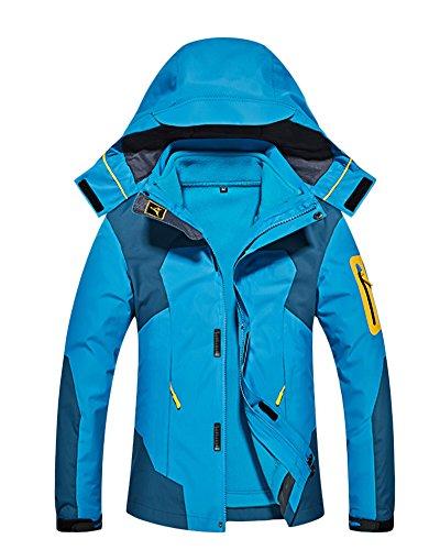 Qitun Herren Damen 3 in 1 Outdoor Funktionsjacke Skifahren Bergsteigen Trekkingjacke warm Kapuzenjacke Abnehmbarer Kapuze Seeblau Damen S
