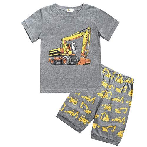 EULLA Kinder Jungen Schlafanzüge Kurzarm Bagger Baumwolle Nachtwäsche, 3-bagger, 92(Herstellergröße:3T)