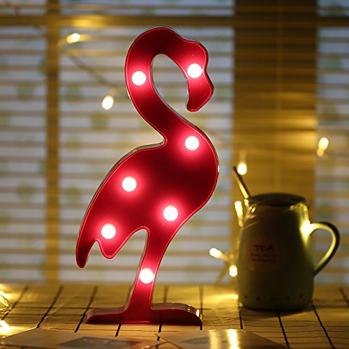 SPECOOL 3D LED Flamingo Light Flamingos Pink Night Lámpara Romantic Battery Powered...