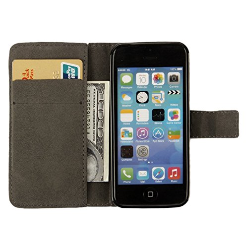 Coque Etui pour iPhone 5C, iPhone 5C Coque Etui Housse Portefeuille, iPhone 5C Bookstyle Étui Relief dessin animé peinture Housse en Cuir Case à rabat, iPhone 5C Leather Case Wallet Flip Protective Co Patch Ours