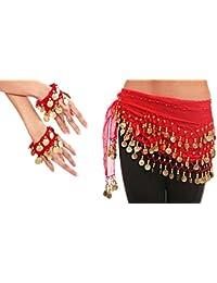 Belly Dance Bauchtanz Kostüm Hüfttuch inkl. ein paar Handketten Münzgürtel Fasching Karneval Tanzaufführung Gürtel in rot