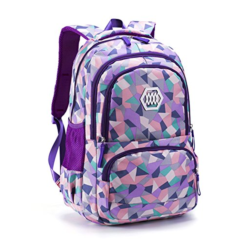 Mochila colegio adolescente,Mochila escolares juveniles Mochilas escolares niña Mochilas de marcha (Púrpura)