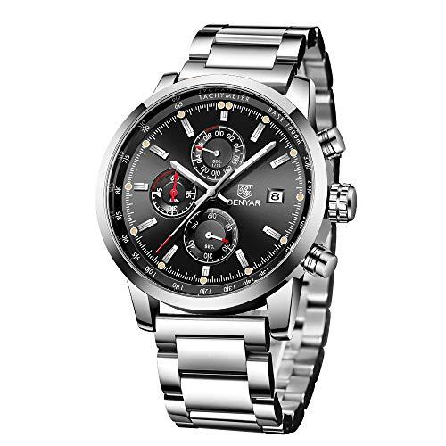 BENYAR Herren Uhr Chronograph Analogue Quartz Wasserdicht Business Schwarz Zifferblatt Armbanduhr mit Edelstahl Armband (Silber)