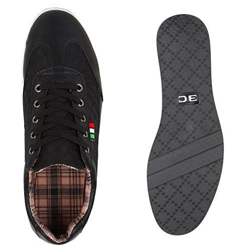Herren Sneakers Gesteppt   Denim Sportschuhe   Sneaker Low   Turnschuhe Schnürer  Freizeit Schuhe Leder-Optik Schwarz