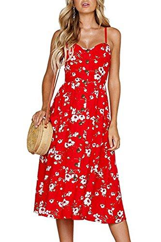 Walant Robes pour Femmes mi-Longue à Bretelles Ete Tie Front Col V Manches Courtes Bouton A-Line Sexy Robe Plage d'été Casual Chic Vintage Floraux, Rouge, L
