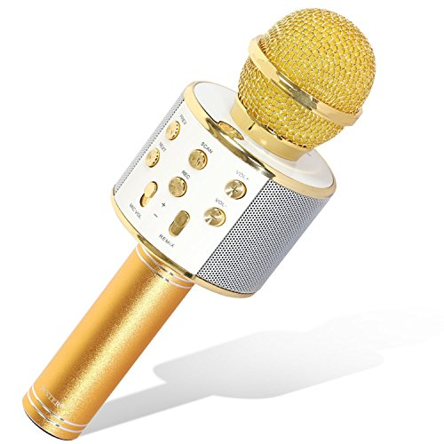 Tonor Bluetooth Karaoke Mikrofon mit Lautsprecher; Multifunktionell Tragbar Drahtlos Microphone für Karaoke Party Podcast Sprach- und Gesangsaufnahmen, kompatibel mit Android /IOS PC Laptop (Gold)