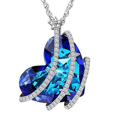 Collana donna con pendente di cuore, collana ragazza di cristallo swarovski elegante, regala alla tua amore, regalo gioielli per moglie, ragazza, fidanzata e mamma, regalo di san valentino